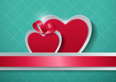 Paper Hearts on Turquoise Background Royalty Free Stock Images