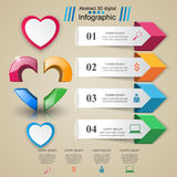 Paper hearts Valentines day. Abstract Infographic. Infographic design template and marketing icons. Abstract 3DInfographic vector illustration