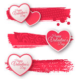 Paper Hearts with Watercolor Strokes vector illustration