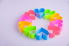 Paper hearts on white background Stock Photos