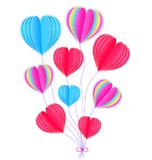 Paper hearts on white background Stock Image