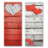 Paper hearts on a wooden surface Stock Photo