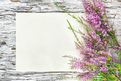 Paper with heather on the old wood. Old rough wooden background with paper and heather Royalty Free Stock Image