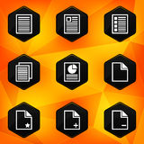 Paper. Hexagonal icons set on abstract orange back Stock Photography