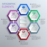 Paper hexagons infographics stock illustration