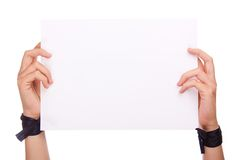 Paper holding in hands on a white background Stock Photo