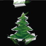 Paper with hole like Christmas tree. Elements for design,  illustration Royalty Free Stock Photo