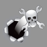 Paper hole with skull and wrenches Stock Image