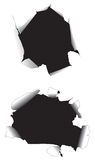 Paper holes. Vectorial image of two holes in paper Royalty Free Stock Photo