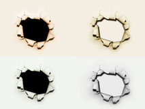 Paper Holes. Four holes on different paper backgrounds color Stock Illustration