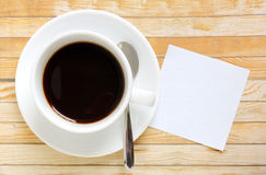 Paper with hot coffee cup Stock Photography