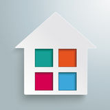 Paper House Colored Window Stock Image