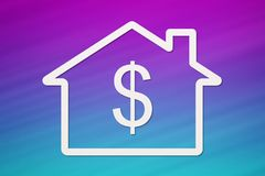 Paper house with dollar sign inside. Abstract conceptual image. Paper house with dollar sign inside on colorful background. Housing, family concept. Abstract Royalty Free Stock Photos