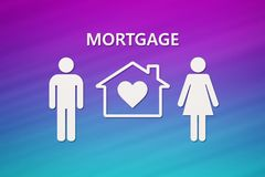 Paper house and family with mortgage text. Conceptual image Royalty Free Stock Images