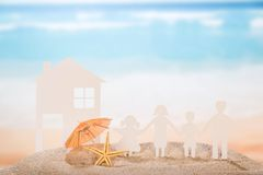 Paper house and family Stock Photography