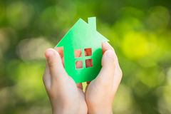 Paper house in hands Royalty Free Stock Photography