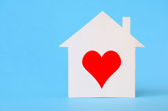 Paper house with heart shape Royalty Free Stock Photo