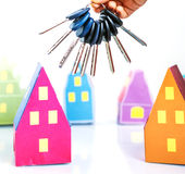 Paper house and keys Stock Image