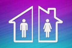 Paper house with man and woman inside. Divorce concept. Abstract conceptual image Stock Photos