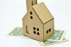 Paper house model and money Stock Photo