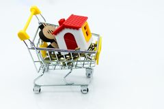 The paper house on the shopping cart. Image use for financial, loan money concept.  Royalty Free Stock Photo