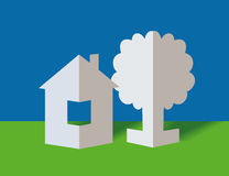 The paper house and tree Royalty Free Stock Image