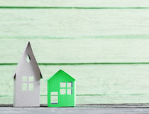 Paper house on  wooden background Stock Photography