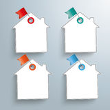 4 Paper Houses Colored Flag Pins Royalty Free Stock Images
