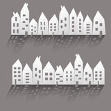 Paper houses with long shadow Stock Image