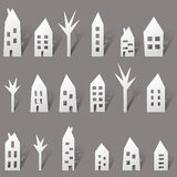 Paper houses with long shadow Royalty Free Stock Photos