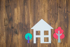 Paper houses and trees, home environment Stock Photo