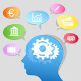 Paper human head with gears and business Speech bu Royalty Free Stock Images