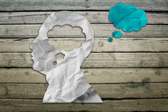 Paper humans head with cloud symbol Stock Photography