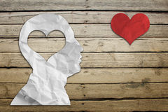 Paper humans head with heart Royalty Free Stock Photo