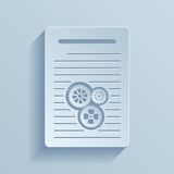 Paper icon of document with gears. Royalty Free Stock Photos