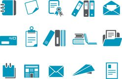 Paper Icon Set. Vector icons pack - Blue Series, paper collection Stock Photography