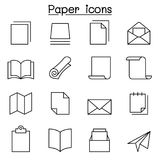 Paper icon set in thin line style Royalty Free Stock Photography