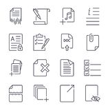 Paper icons. Document icons. Vector EPS10. Icon set with  stroke. EPS 10 Royalty Free Stock Image
