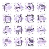 Paper icons. Document icons. Set of the icons with different document and paper icons for sites, apps, programs stock illustration