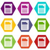 Paper icons set 9 vector. Paper icons 9 set coloful isolated on white for web Stock Photos