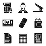 Paper icons set, simple style. Paper icons set. Simple set of 9 paper vector icons for web isolated on white background Stock Image