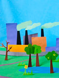 Paper illustration of pollution Royalty Free Stock Images