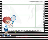 A paper with an image of a boy playing tennis Stock Images