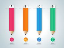 Paper infographic,l pencils. Educational infographics. Royalty Free Stock Images
