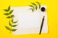 Paper, ink and calligraphy pens. Lettering workshop details. Blank for text on a bright yellow background.  Royalty Free Stock Photos