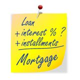 The paper with the inscription loan, interest, installments, mortgage Royalty Free Stock Image