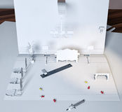 Paper interior. Little model of a vintage interior, made of sheets of paper royalty free illustration