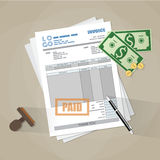 Paper invoice form. Paper invoice form, paid stamp, pen, cash money and coins. tax. receipt. bill. vector illustration in flat style on brown background Royalty Free Stock Image
