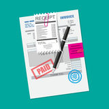 Paper invoice form. Pinned receipt bill. Pen Royalty Free Stock Image