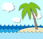 Paper Island with palm tree Royalty Free Stock Image